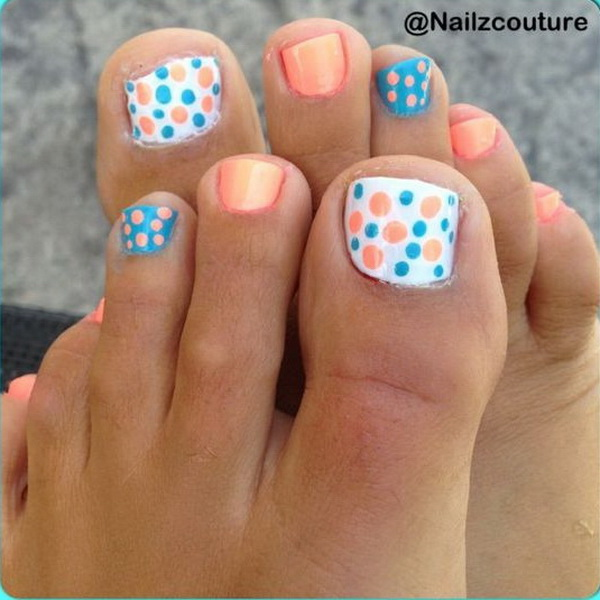 Coral and Blue Polka Dot Pedicure.