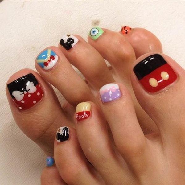 Disney Nail Art Design for Toenails.