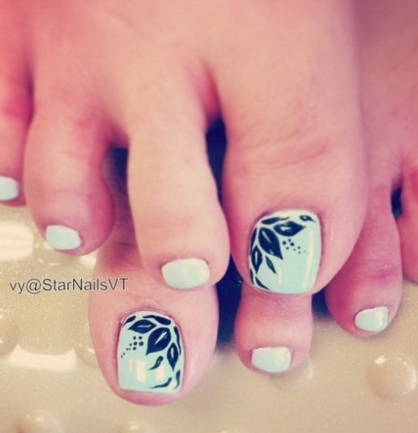 Mint Green Nail Polish with Feather Design on the Corner of the Big Toe - 50+ Pretty Toe Nail Art Ideas - For Creative Juice