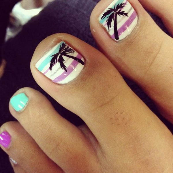50 pretty toe nail art ideas for creative juice beach toe nail design with palm tree prinsesfo Gallery