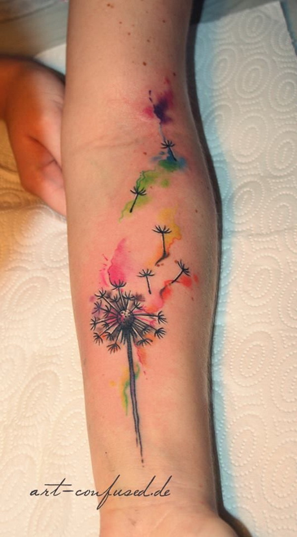 Dandelion Watercolor Tattoos.