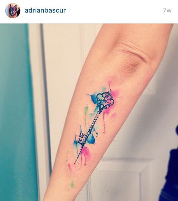 Watercolor Key Tattoo.