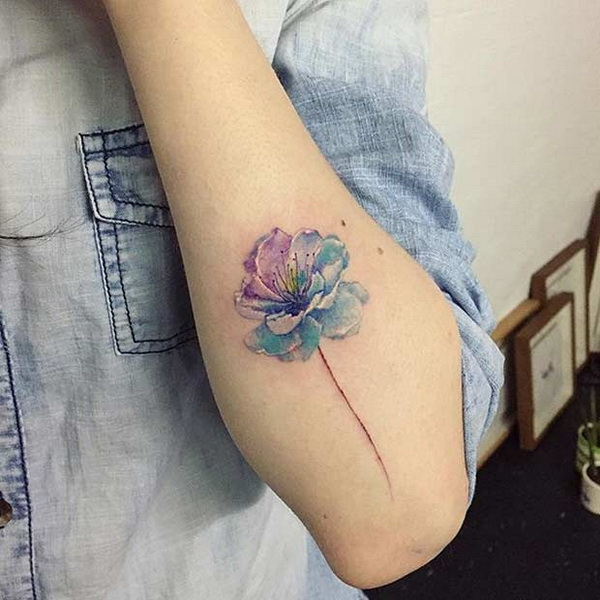 Blue Cherry Blossom Tattoo.