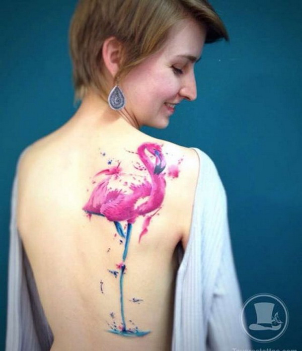 Large Watercolor Flamingo Tattoo on Back.