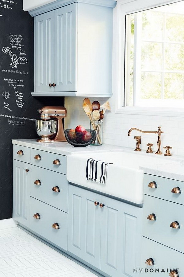Baby Blue Kitchen Cabinets with Brass Hardware and White Subway Tiles & Kitchen Cabinet Paint Color with Gorgeous Blue - For Creative Juice