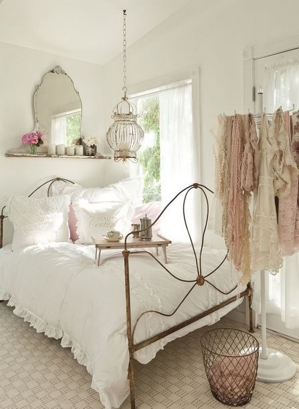 French inspired Feminine Bedroom with Lots of Shabby and Cottage Chic Touches.