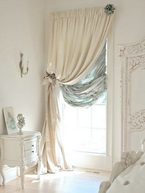 Shabby Glam Bedroom Dressed in Ivory with a Touch of Turquoise.