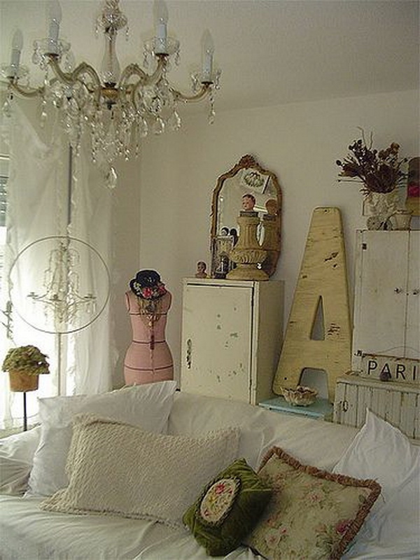 Shabby Chic Chandelier and All Vintage Decor Pieces.