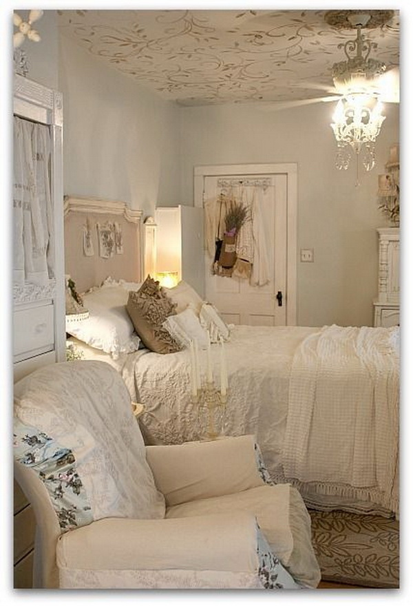 Feminine Soft Blue Shabby Chic Bedroom.