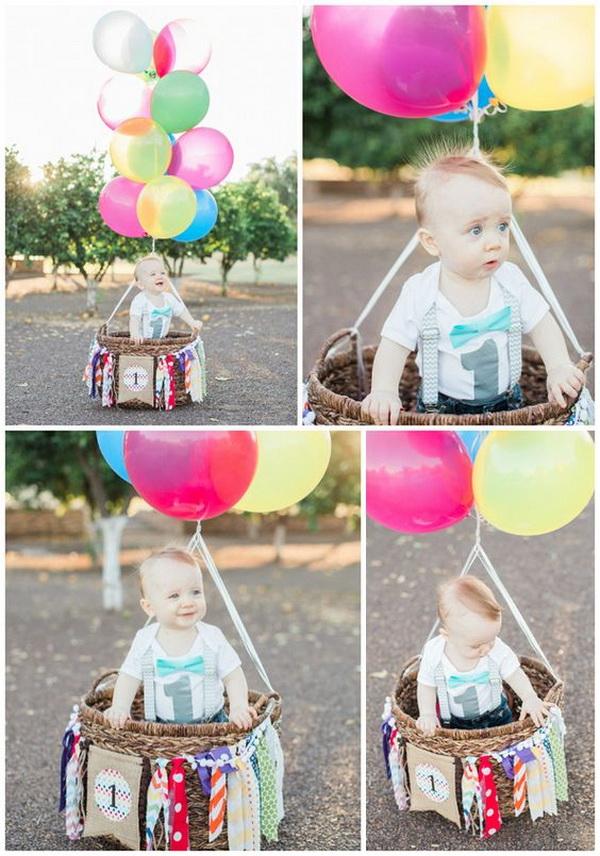 Hot Air Balloon First Birthday Photo Shoot.