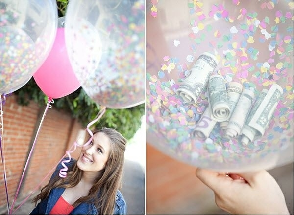 Money Confetti and Candy Inside Balloons.