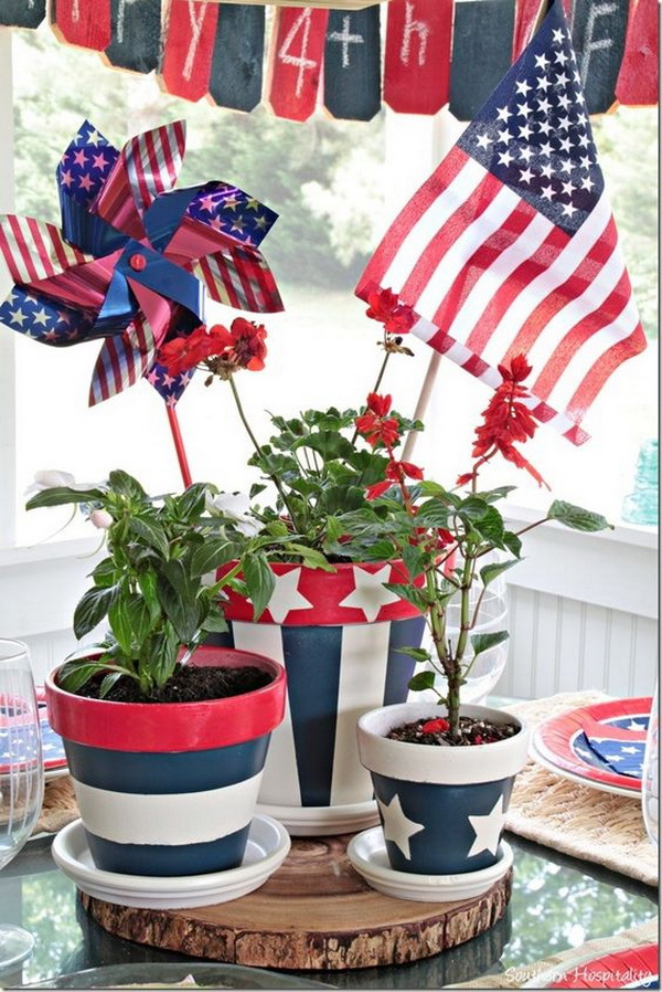 Patriotic Themed Painted Flower Pots