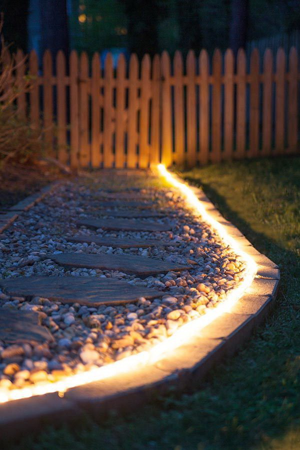 Rope Light Along Pathway. Rope light along pathway! So romantic and stunning and will add ambient glow to decks and highlight focal points in the yard!