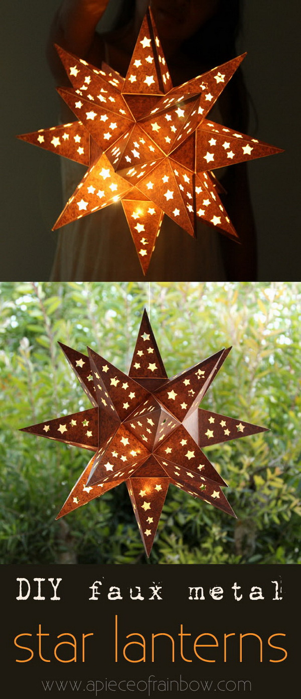 DIY Faux Metal Star Lantern. Another lovely piece of enchantment for your outdoor decor, made with …. paper!