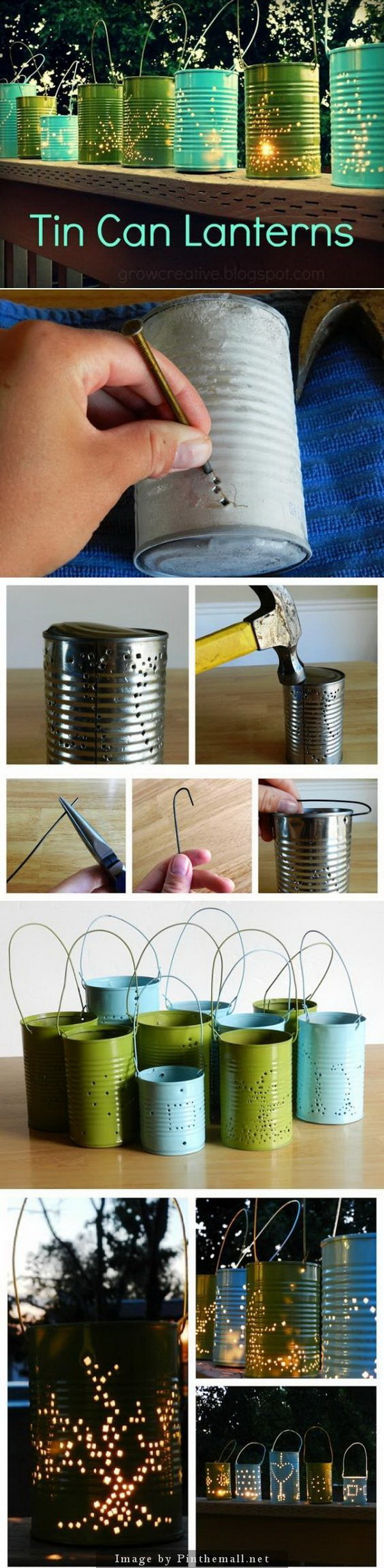 DIY Tin Can Lanterns. This beautiful lantern style lamp can be easily made out of tin cans and spray paints.