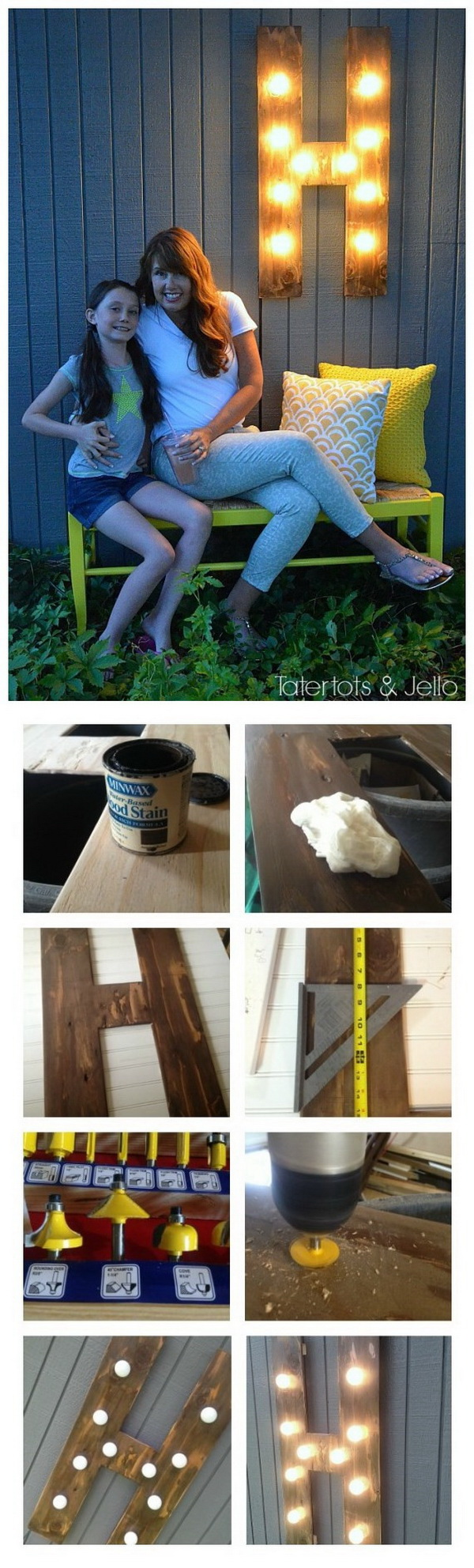 DIY Outdoor Wood Marquee Letter. Make a chic marquee letter with wood and globe string lights and add a little light and excitement to your outdoor!