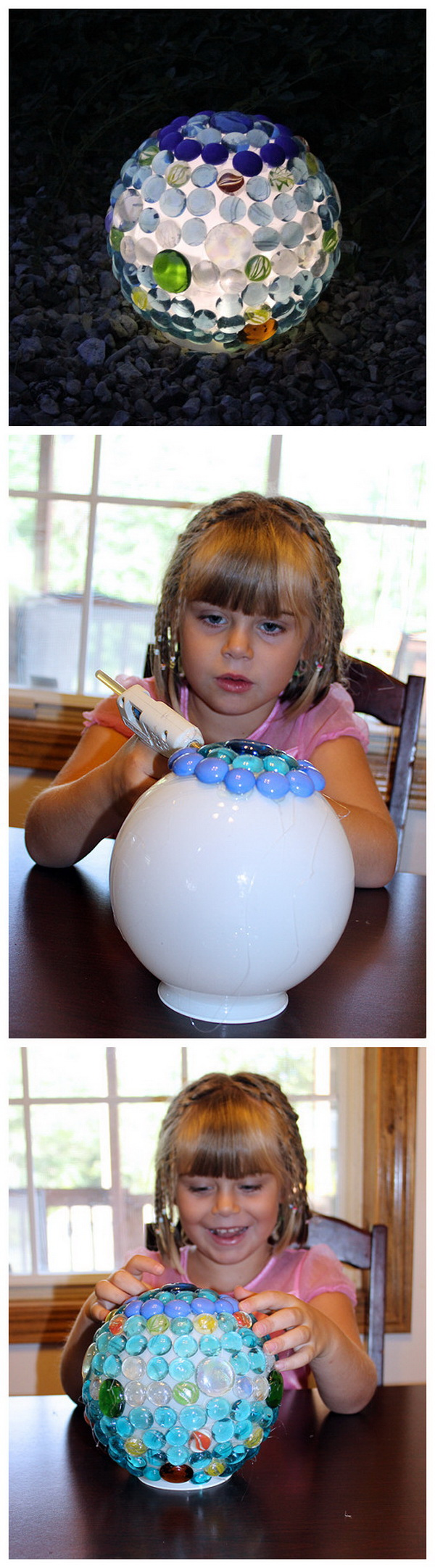 DIY Glowing Garden Ball. Make this stuuning glowing garden ball with a light cover and some left over decorative stones! It is easy and fun to make with your kids!