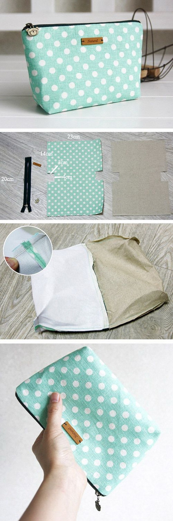 DIY Natural Linen And Cotton Zipper Cosmetic Bag. Want your cosmetic bag to be more unique and customized? Try out this easy sewing project this weekend! Easy, fun and quick to sew with a few steps!