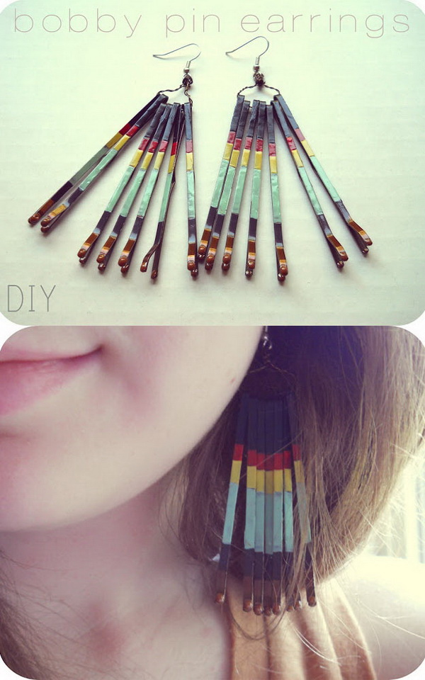 DIY Bobby Pin Earrings. Make the customized earrings with bobby pins and nail polish for your own!