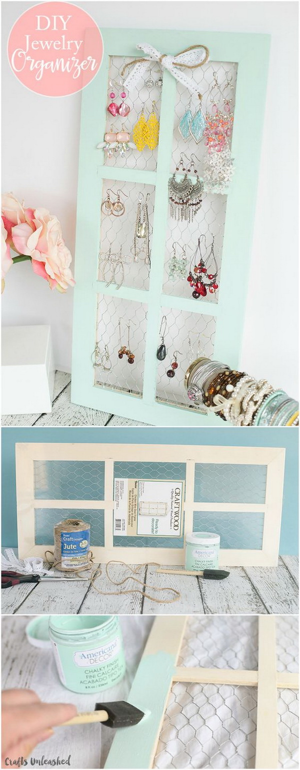 Chicken Wire DIY Jewelry Holder. Super functional and also makes a pretty addition to the wall decor in a teen girl's room!