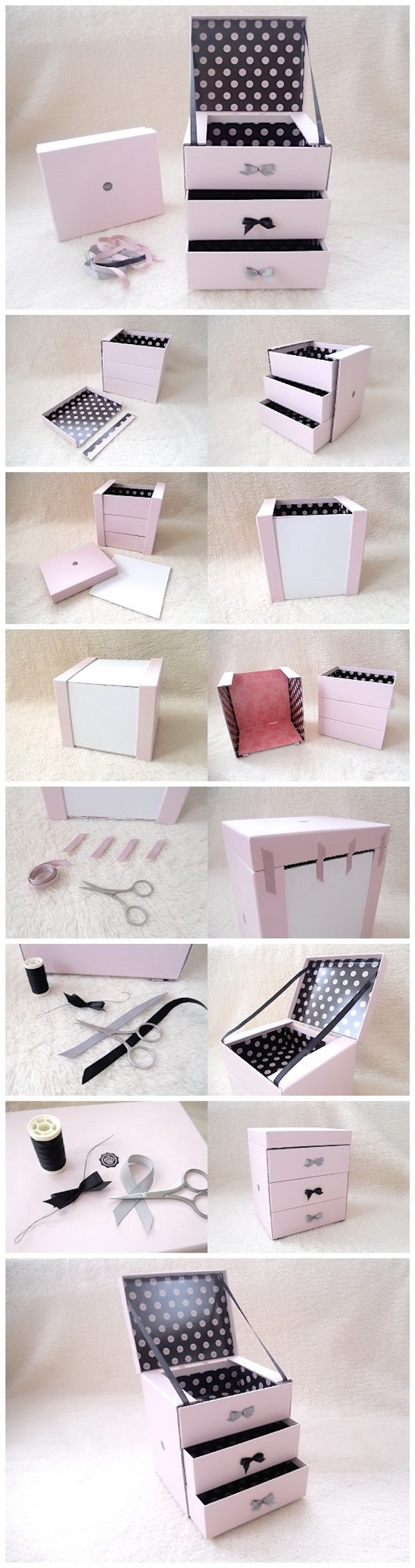 DIY Glossybox Jewellery Drawers. Never throw away the shopping boxes next time! You can turn them into a cute storage like this jewelry drawer with our tutorial and instructions. It is perfect in a girl's room.