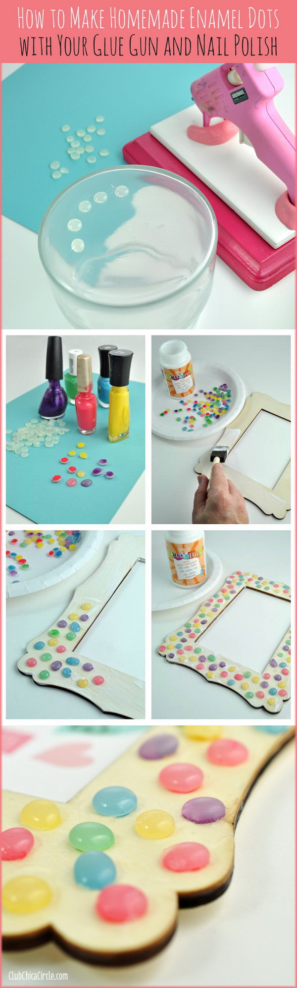 Homemade Faux Enamel Dots. A fun weekend project made with nail polish anf hot glue!  So clever and cool! You can make these faux enamel dots to decorate everything you want!