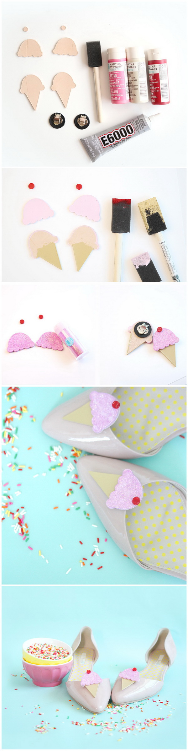 Ice Cream Cone Flats. Make your flats appealing by adding these DIY ice cream cone accents.