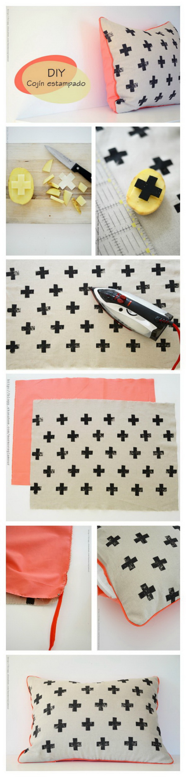 DIY Potato Stamped Pillow with Cross Prints: Create a fun pillow using a potato stamp and fabric ink! An easy and pretty DIY project for teenage girls bedroom!
