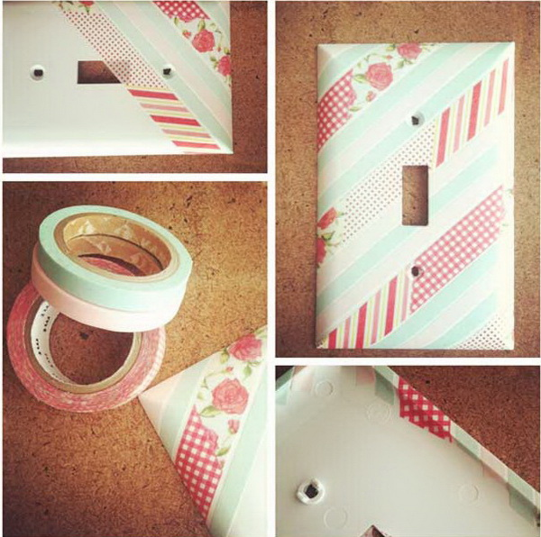 Washi Tape Light Switch Cover: Pretty up your light switch cover with washi tape! Easy and fun to do and looks so pretty in your bedroom!
