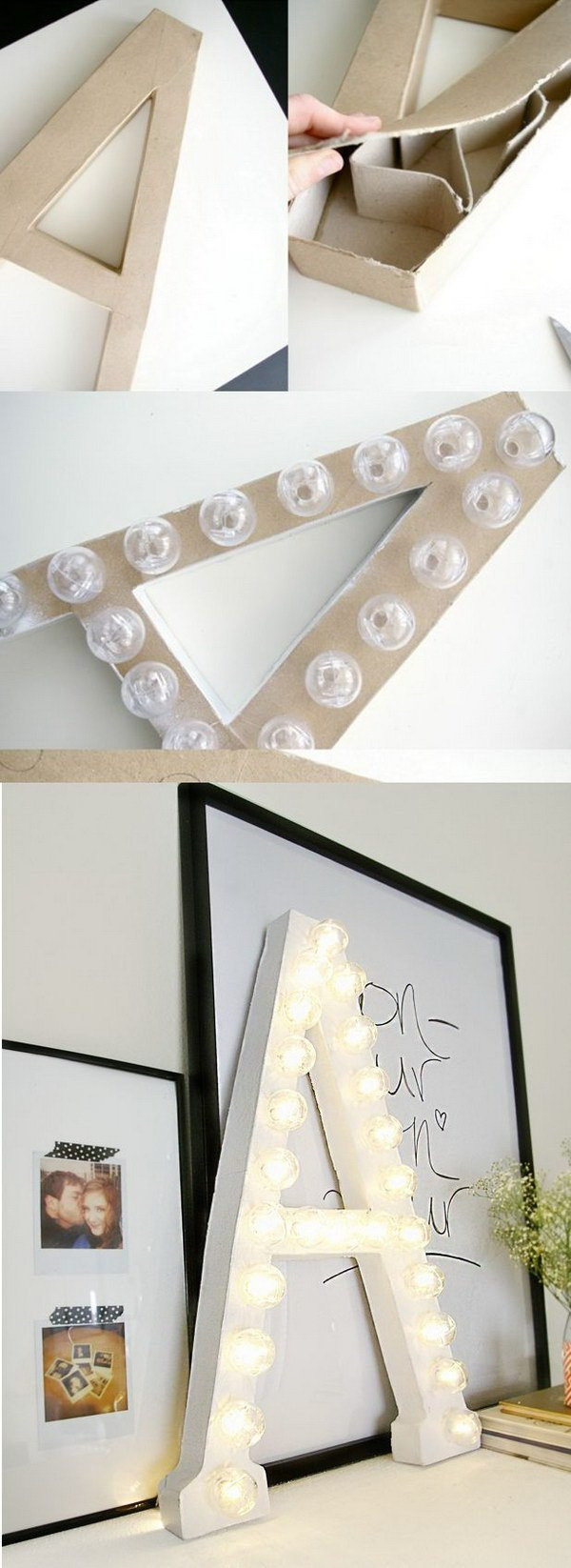 DIY Marquee Letters from Cardboard: Another stylish DIY project for teen girls' room decor! It must be every girl's wish list.