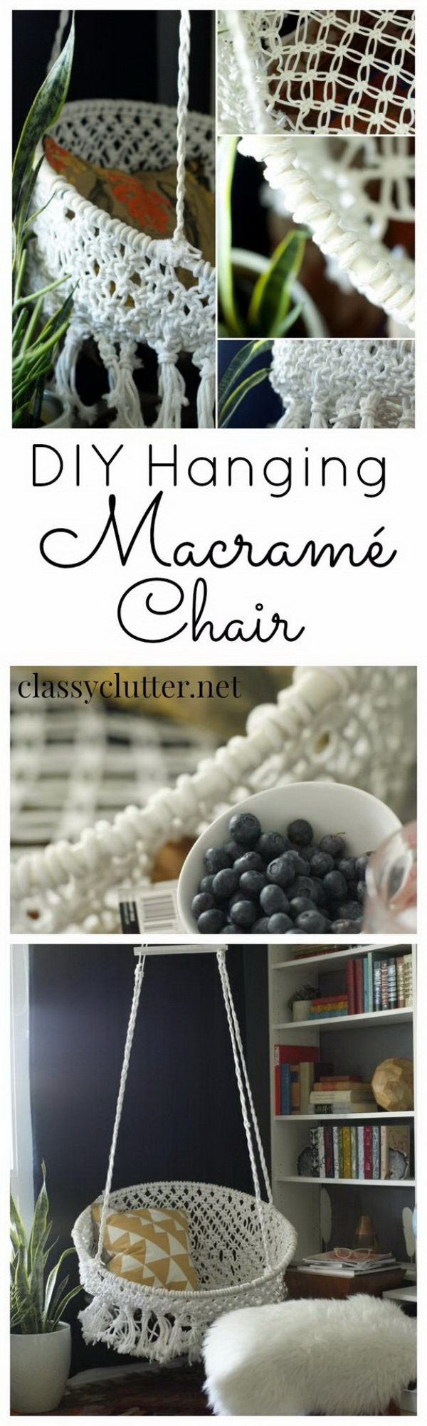 DIY Hanging Macrame Chair: Add a bit of more cozy and inviting flair to your room with this DIY project. You can macrame this boho-chic hanging chair with clothesline and a hoola hoop.