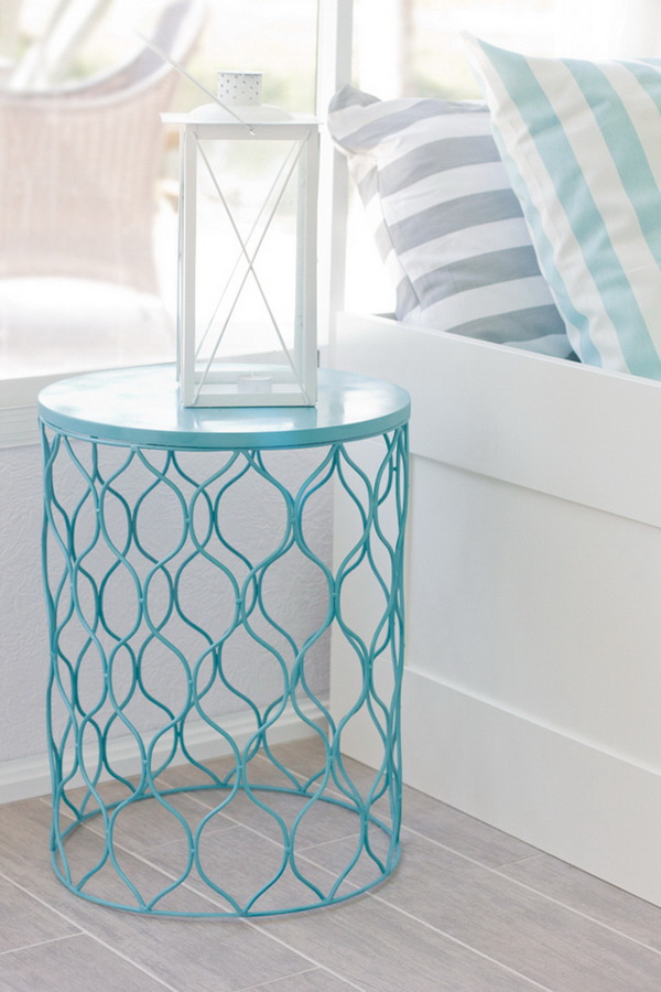DIY Waste Basket Nightstand: Spray paint cute garbage cans in bright colors, like mint green, pink, turquoise more and then flip them over to make this cute nightstands for teen girls bedroom.