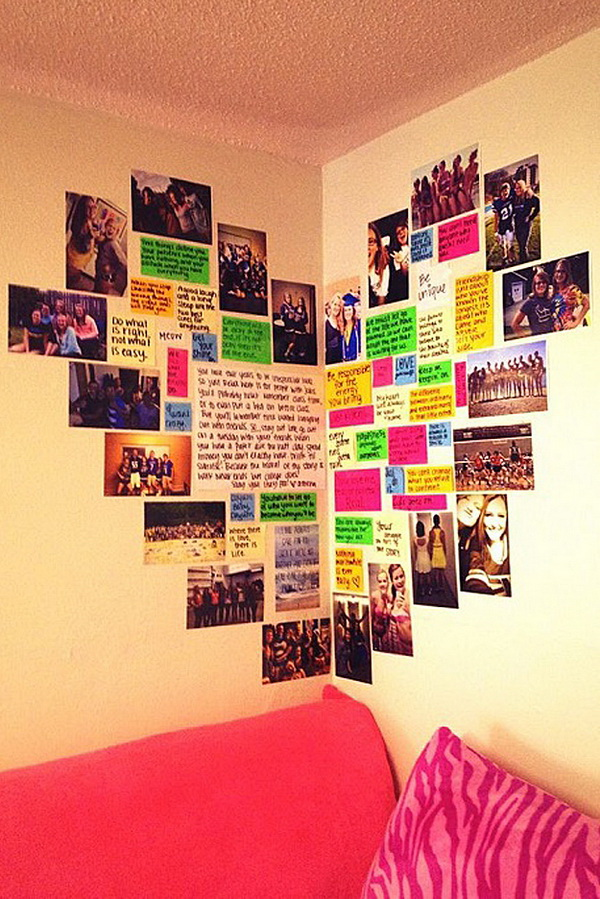 Heart Photo Wall: Photos always make great decor for the teen girls. How about this heart photo wall? I believe it will be every girl's wish list.
