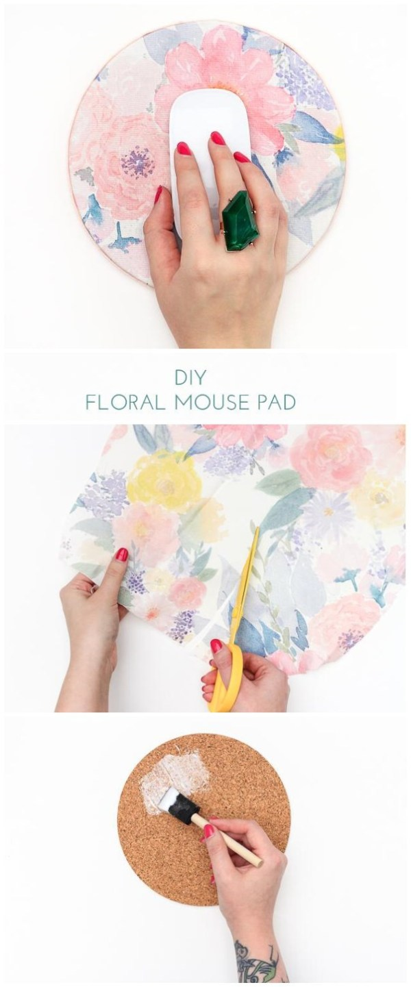 DIY Floral Mouse Pad. Get yourself a brand new floral mouse pad on your desk this Spring! It is super easy and quick to make in less than an hour. All you need is your favorite fabric and a few inexpensive supplies.