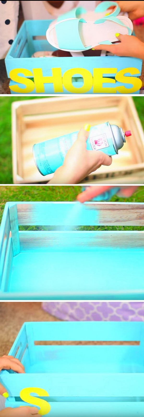 DIY Shoe Crate for Teen Girls: Transfer the simple wood crate into this awesome and pretty shoe crate for teen girls with some bright spraypaint and a bit of creativity.