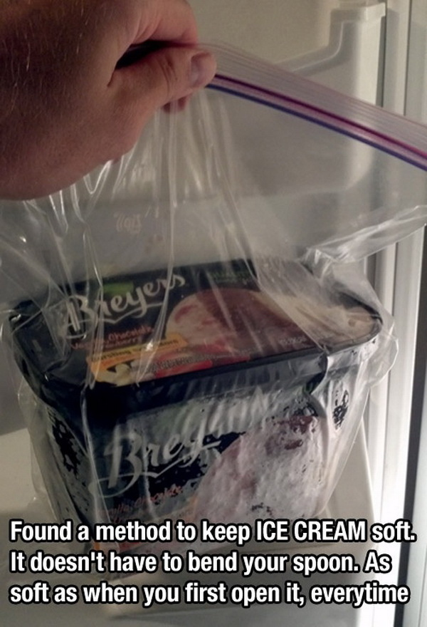Keep Ice Cream Soft by Putting it in a Zip Lock Bag.