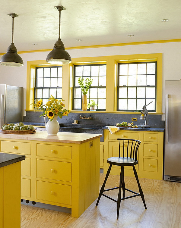 Sun-Kissed Charm of Yellow Kitchen Cabinet Paint Color Ideas.