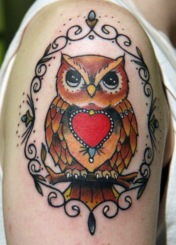 Owl Sleeve Tattoo. More via https://forcreativejuice.com/attractive-owl-tattoo-ideas/