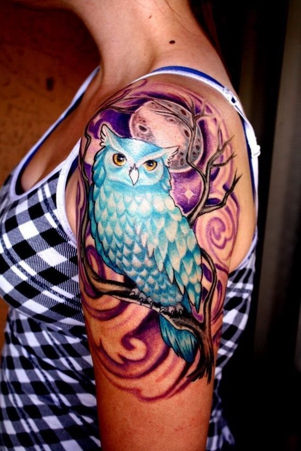 Owl Tattoo Design on Upper Sleeve. More via http://forcreativejuice.com/attractive-owl-tattoo-ideas/