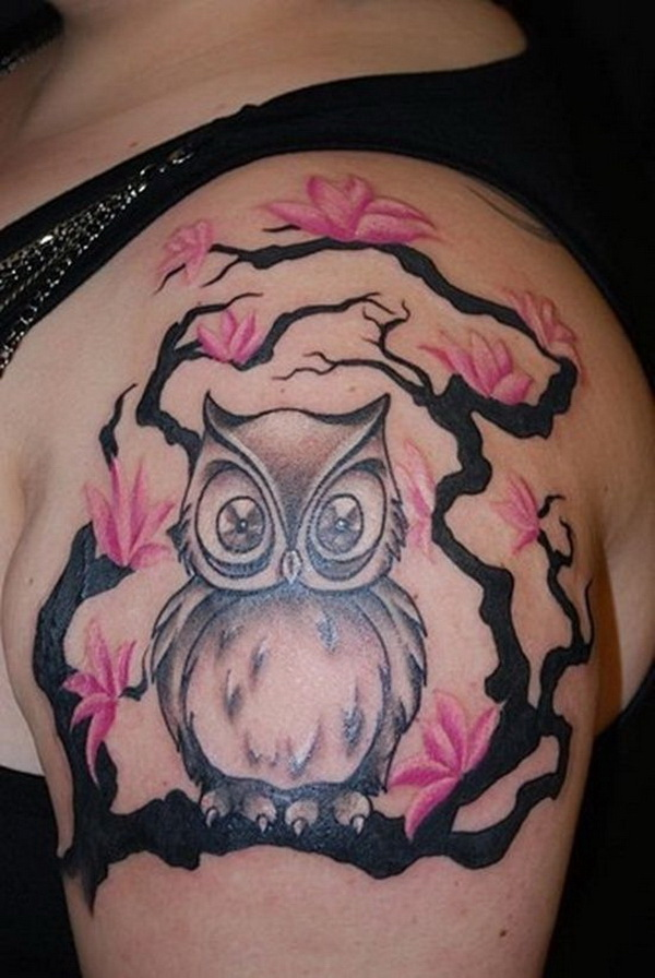 Pink Flowers and Owl Tattoo Design. More via http://forcreativejuice.com/attractive-owl-tattoo-ideas/