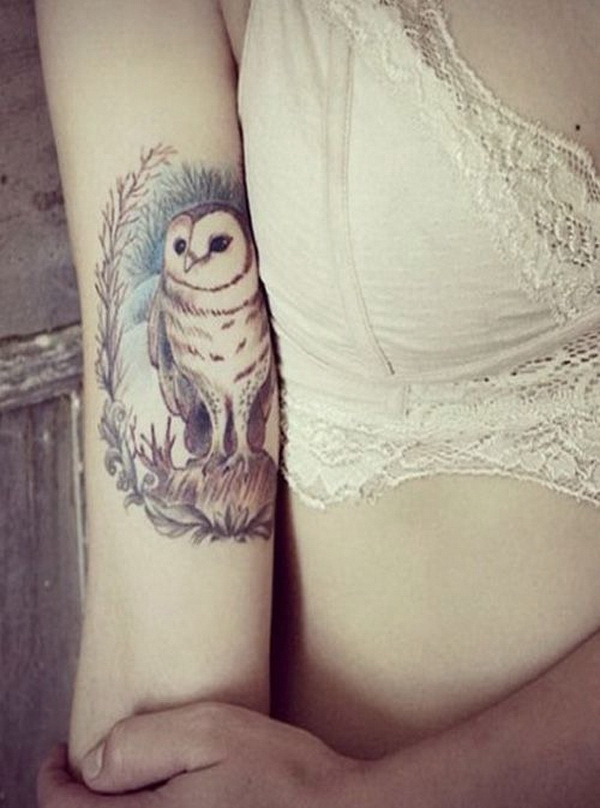Pretty Owl Tattoo on Aarm For Girls. More via https://forcreativejuice.com/attractive-owl-tattoo-ideas/