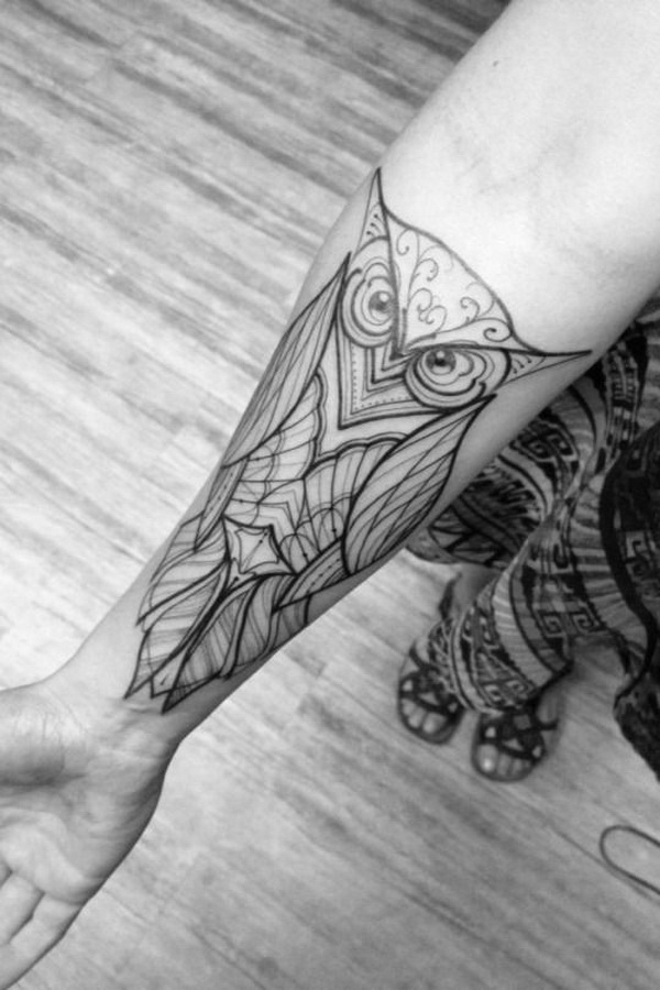 Black And White Design On Forearm. More via https://forcreativejuice.com/attractive-owl-tattoo-ideas/