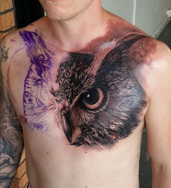 Best Chest Owl Tattoo Design for Men. More via https://forcreativejuice.com/attractive-owl-tattoo-ideas/