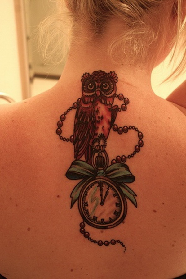 Owl Back Tattoo with Clockwork. More via https://forcreativejuice.com/attractive-owl-tattoo-ideas/