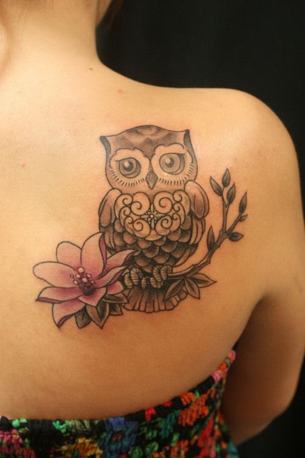 Lotus and Owl Tattoo on Upper Side Back. More via https://forcreativejuice.com/attractive-owl-tattoo-ideas/