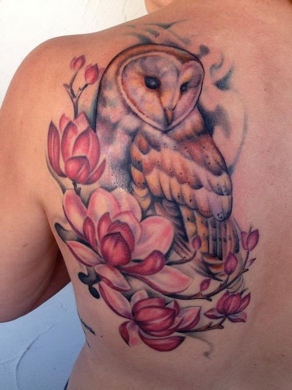 Barn Owl and Magnolias. More via https://forcreativejuice.com/attractive-owl-tattoo-ideas/