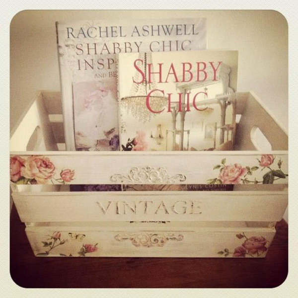 Vintage Shabby Chic Bin for Storage.