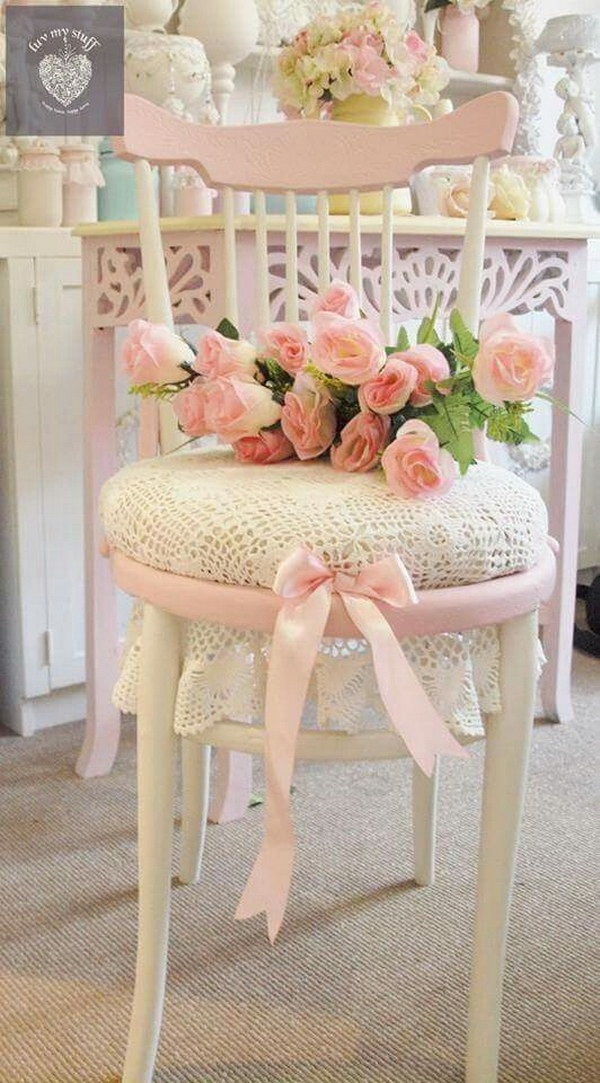 Shabby Chic Chair Decorating with Fresh Pink Flowers.