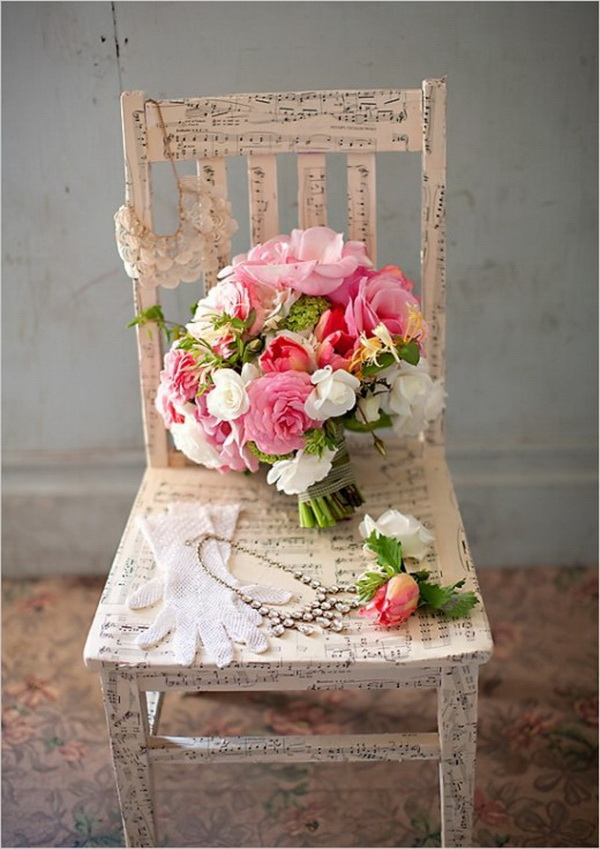 Sheet Music Paper Decoupaged on Chair with Floral Shabby Chic Accents.
