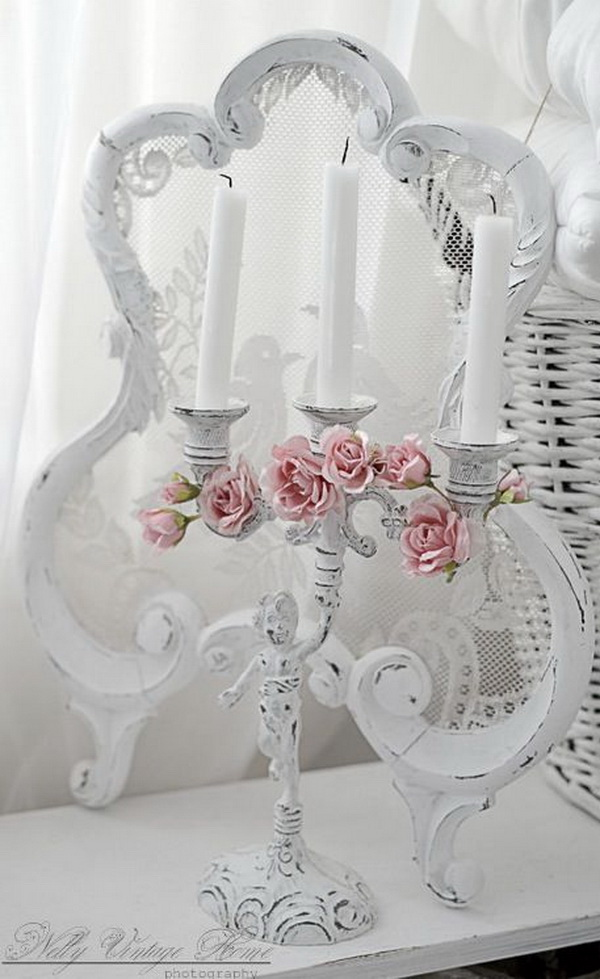 Vintage Shabby Chic Candle Holder Decorated with Pink Flowers.